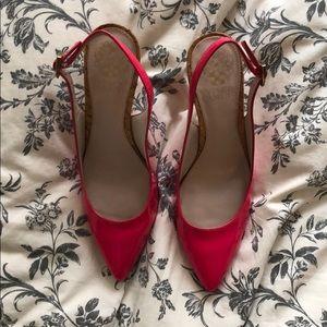 Hot pink sling back heels